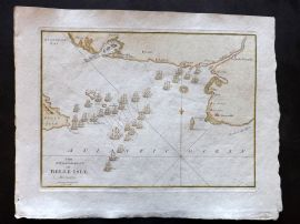 Cary 1801 Hand Col Map. Engagement of Belle-Isle, 1759. France